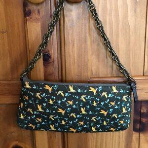 J. Crew silk & Chain Link Bag with Bird Design
